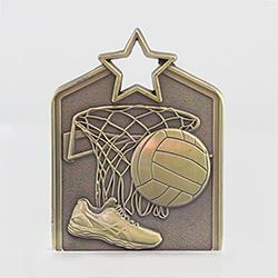 Shield Medal Netball 60mm Gold