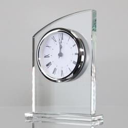 Silver Accented Glass Clock - 180mm