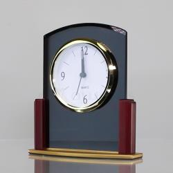 Black Glass and Rosewood Clock - 160mm