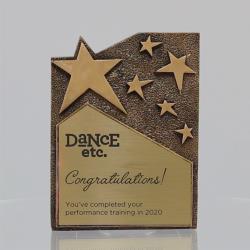 Star Cross Resin Plaque Gold 195mm