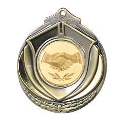 Two Tone Handshake Medal 50mm Gold