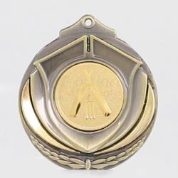 Two Tone Cricket Medal 50mm Gold