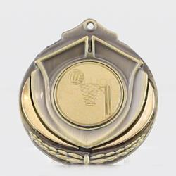 Two Tone Netball Medal 50mm Gold