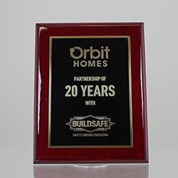 Designer Brass Plaque (Black on Rosewood) 225mm
