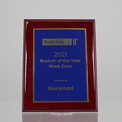 Designer Brass Plaque (Blue on Rosewood) 225mm