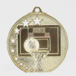 Star Basketball Medal 52mm Gold