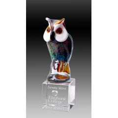 Owl on Clear Base 235mm