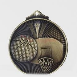Embossed Basketball Medal 52mm Silver