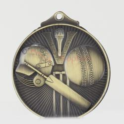 Embossed Cricket Medal 52mm Gold