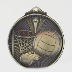 Embossed Netball Medal 52mm Gold
