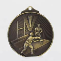Embossed Rugby Medal 52mm Gold