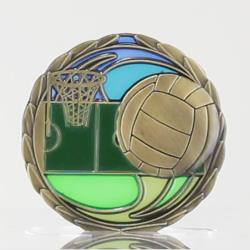 Stained Glass Netball Medal 65mm