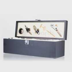 Black Timber Wine Box with Tools