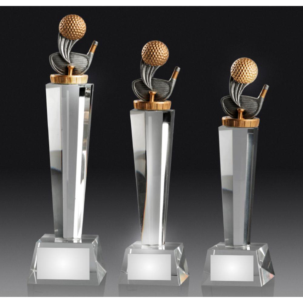 Golf Theme on Crystal Pedestal