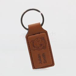 Rawhide Leatherette Rectangle Keyring