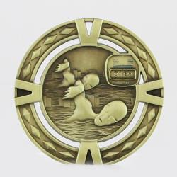 Cutout Swimming Medal 60mm Gold