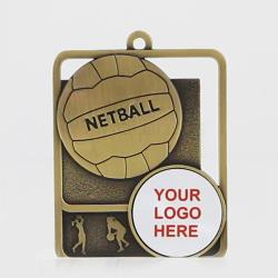 Silhouette Series Netball Logo 60mm Gold