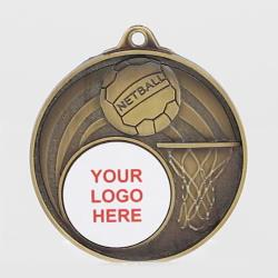 Swish Personalised Netball Medal 52mm Gold