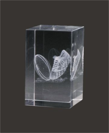 3D Aussie Rules Crystal Block 80mm high