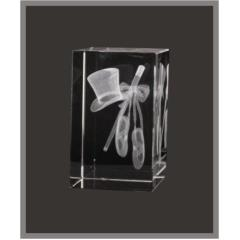 3D Dance/Drama Crystal Block 80mm high