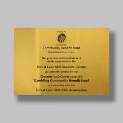 A3 Gold Stainless Steel Plaque