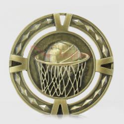 Cutout Netball Medal 60mm Gold