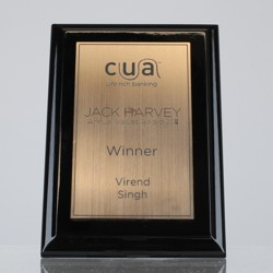 Budget Gloss Black Plaque - Bronze 150mm