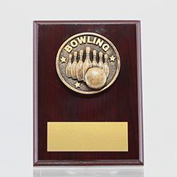 Spartan Tenpin Bowling Mahogany Plaque 150mm