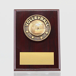 Spartan  Volleyball Mahogany Plaque 150mm