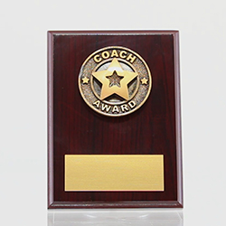 Coach Award Mahogany Plaque 150mm