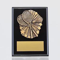 Cosmos Badminton Black Plaque 150mm