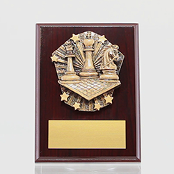 Cosmos Chess Mahogany Plaque 150mm
