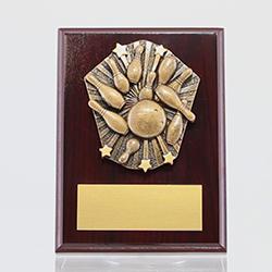 Cosmos Tenpin Bowling Mahogany Plaque 150mm