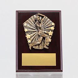 Cosmos Cricket Female Bowler Mahogany Plaque 150mm