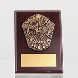 Cosmos Track & Field Mahogany Plaque 150mm