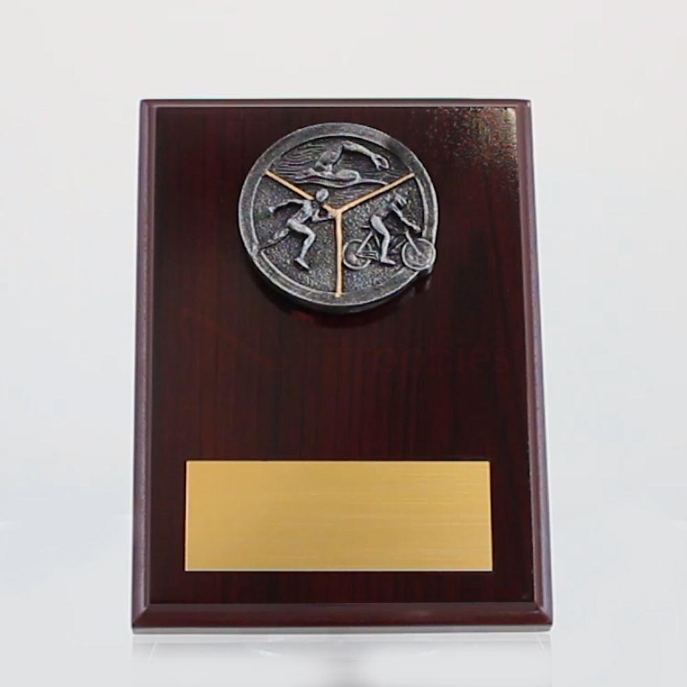 Triathlon Mahogany Plaque 150mm