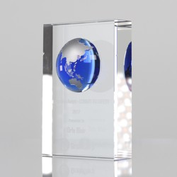 Blue Globe on Crystal Block 115mm