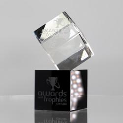 Bevelled Crystal Cube on Black Crystal Base
