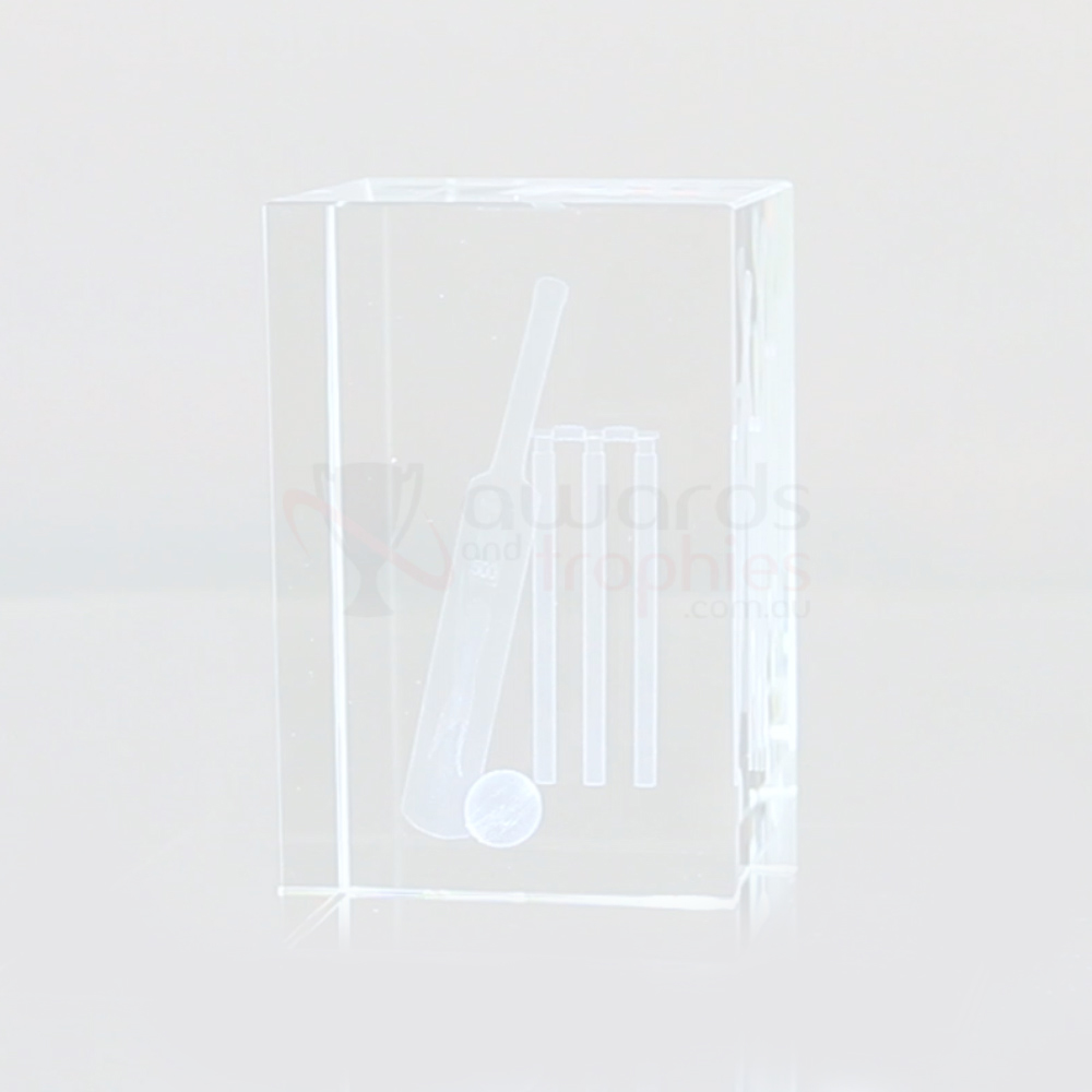 3D Cricket Crystal Block80mm high